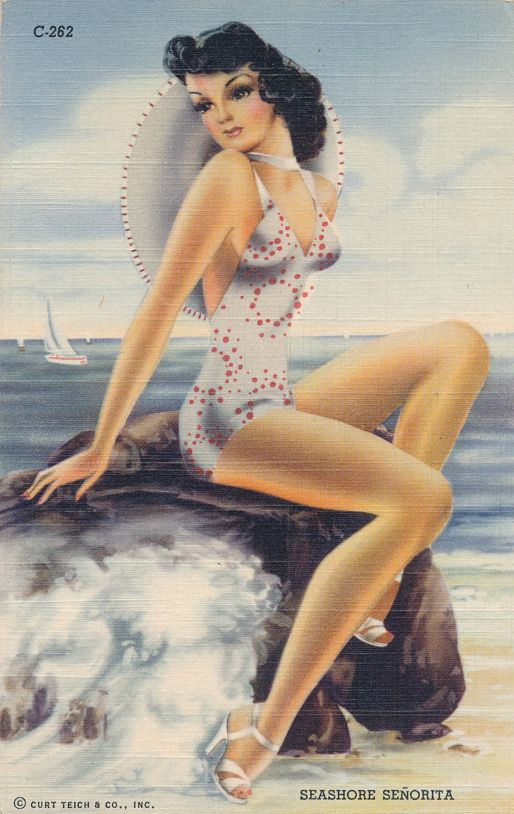 Seashore Senorita - Bathing Beauty - Pin-up - Pretty Lady - pm 1943 at Camp Cooke CA - Linen Card