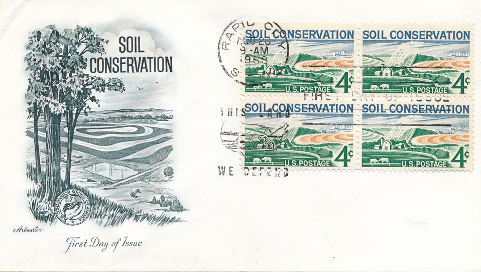 United States sc# 1133 FDC - Block of 4 - Artmaster - Soil Conservation