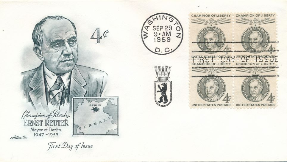 United States sc# 1136 FDC Block of 4 - Champion of Liberty Ernst Reuter