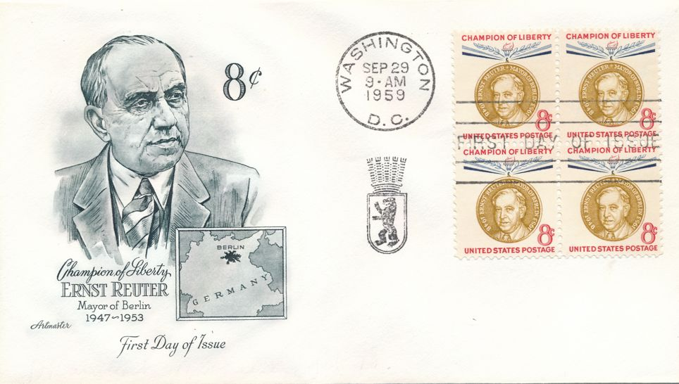 United States sc# 1137 FDC Block of 4 - Artmaster - Champion of Liberty - Ernst Reuter