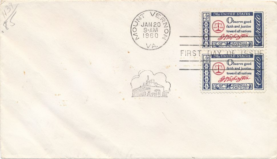 United States sc# 1139 FDC - George Washington Credo - January 20, 1960