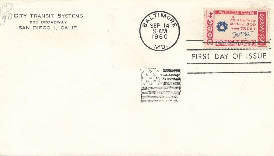 United States sc# 1142 FDC - Francis Scott Key Credo