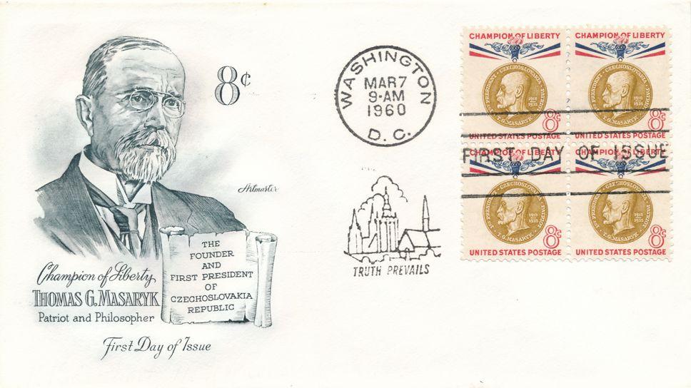 United States sc# 1148 FDC Block of 4 - Champion of Liberty Thomas Masaryk - Artmaster