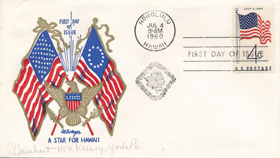 United States sc# 1153 FDC - 50 Star Flag for Hawaii - July 4, 1960