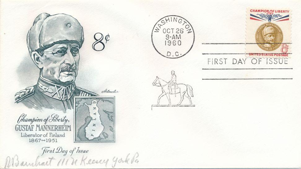 United States sc# 1166 FDC Single Artmaster - Mannerheim Champion of Liberty