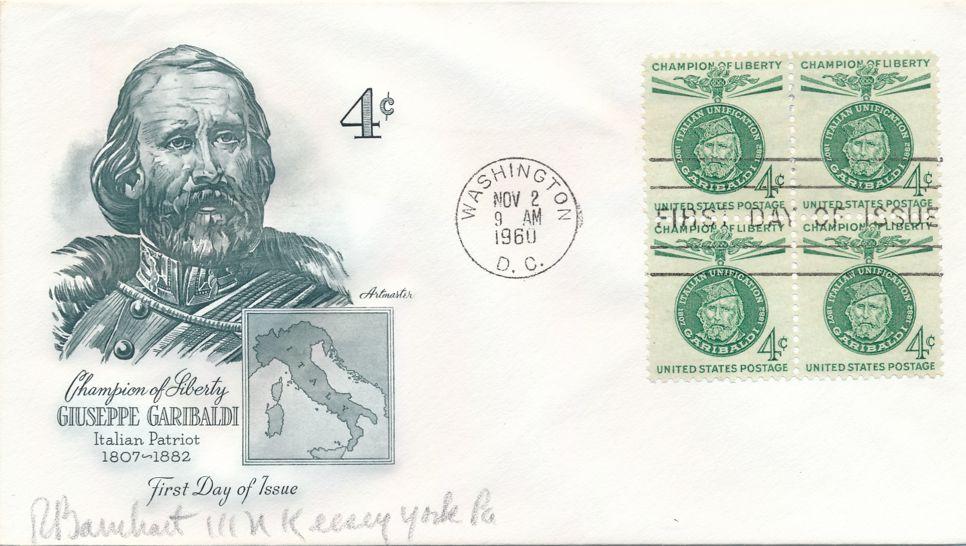 United States sc# 1168 FDC Block of 4 - Artmaster - Garibaldi - Champions of Liberty