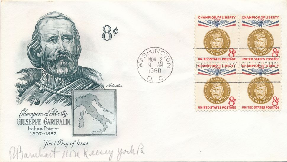 United States sc# 1169 FDC Block of 4- Artmaster - Garibaldi - Champions of Liberty