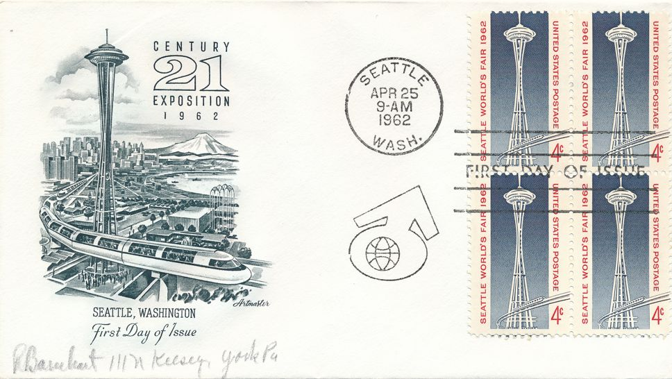United States sc# 1196 FDC - Block of 4 - Seattle Expo 1962 - Artmaster