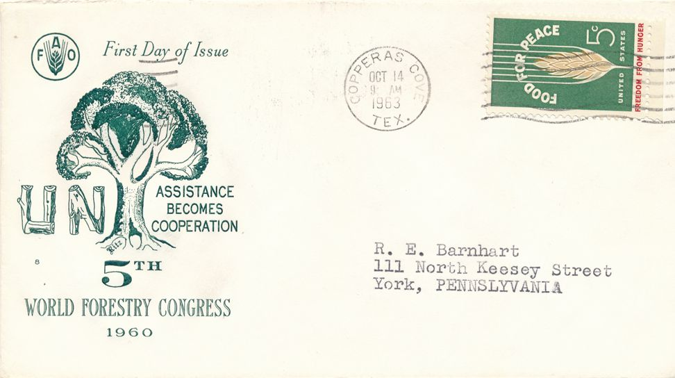 United States sc# 1231 - Food For Peace - (NOT FDC) - pm 1963 at Copperas Cove TX