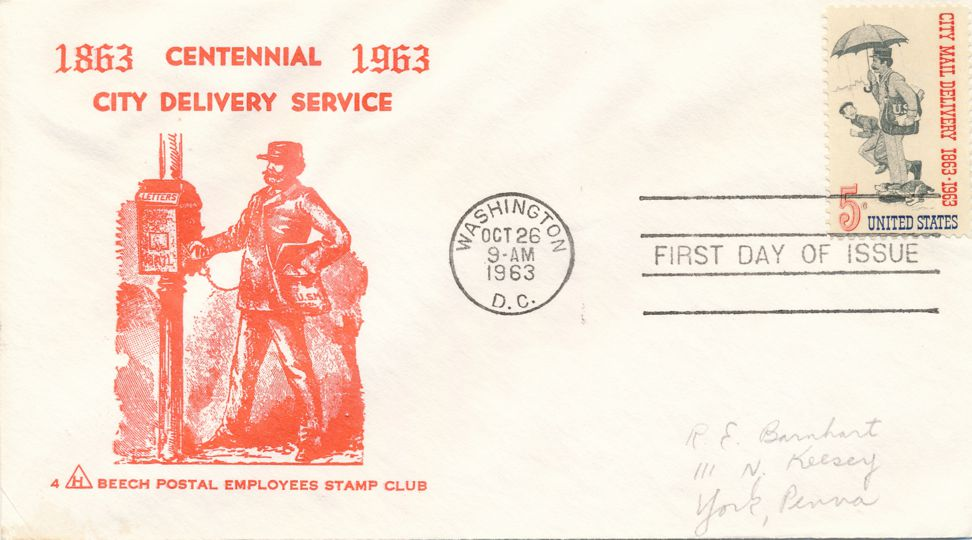United States sc# 1238 FDC - Centennial Post Office City Delivery Service