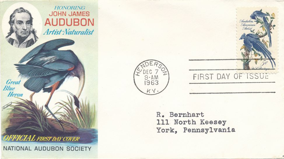United States sc# 1241 FDC - Bird Blue Heron - Audubon Cachet