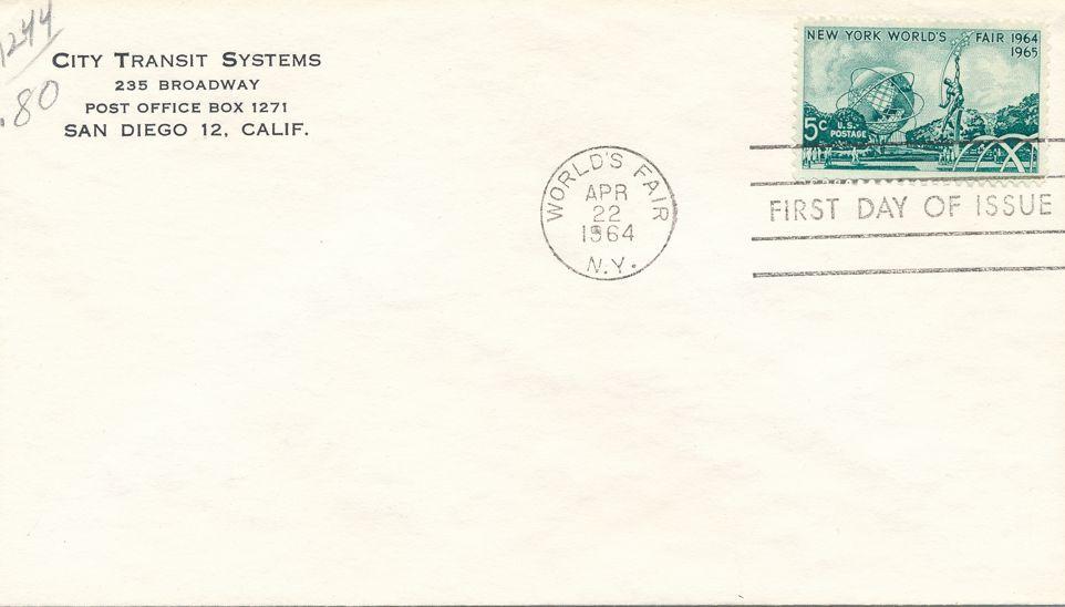 United States sc# 1244 FDC - World Fair New York City 1964
