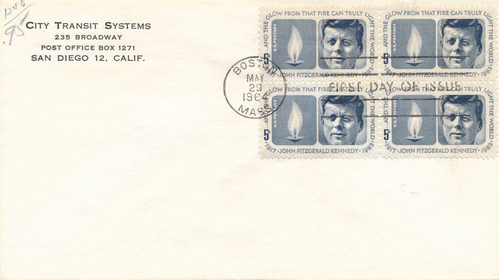 United States sc# 1246 FDC - Block of 4 - JFK pm Boston MA on May 29, 1964