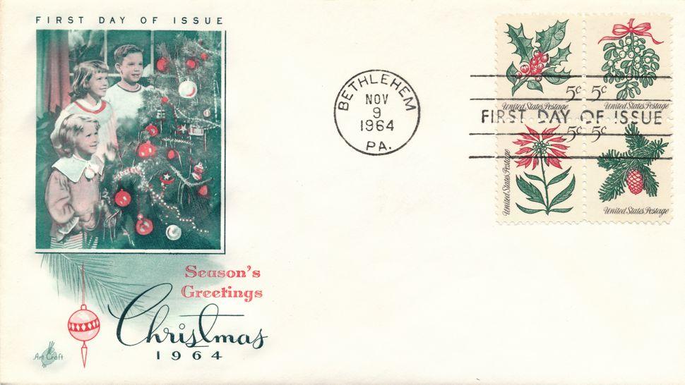 United States sc# 1254-7 FDC - Setenant Block of 4 - Christmas 1964 - Art Craft