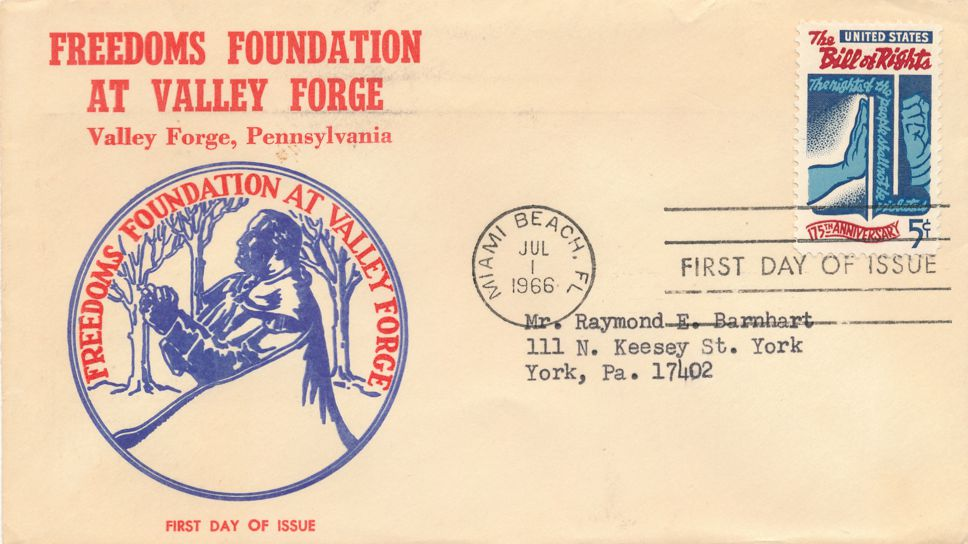 United States sc# 1312 FDC - Bill of Rights - Freedoms Foundation Cachet