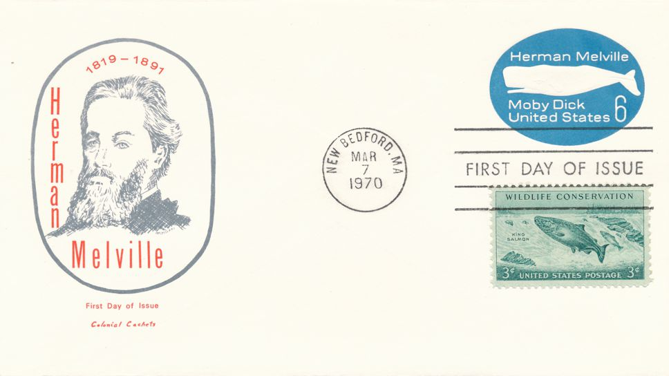 United States sc# U554 FDC Postal Stationery - Herman Melville and Moby Dick