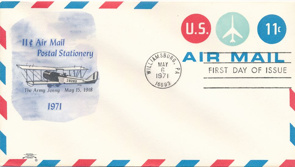 United States FDC sc# UC43 - Airmail Postal Stationery - Colonial Cachet
