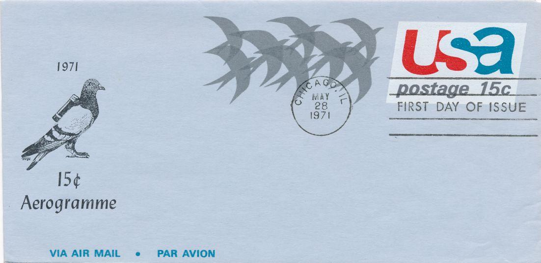 United States sc# UC44 FDC - Aerogramme Airmail Postal Stationery