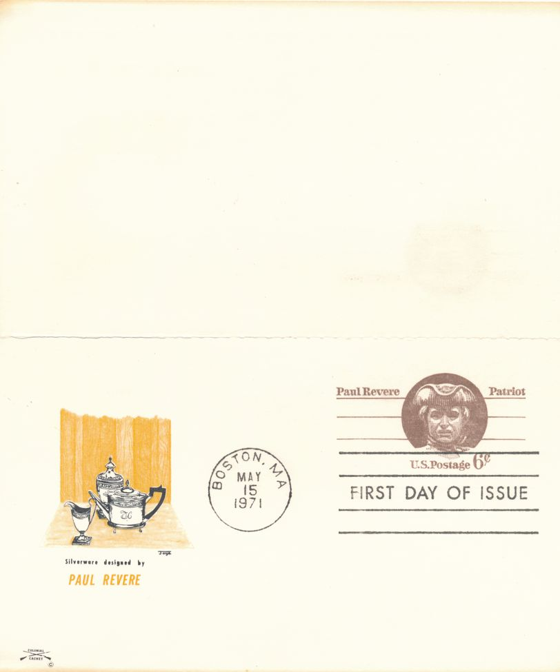 United States sc# UX58 FDC - Paul Revere Postal Card - Attached return cord