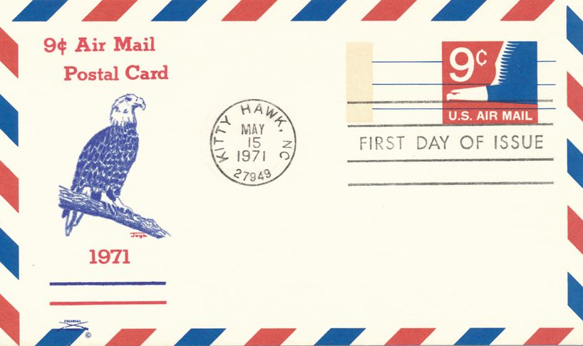 United States FDC sc# UXC9 - Airmail Postal Card - Eagle - Colonial Cachet