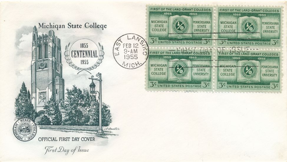 United States sc# 1065 FDC - Block of 4 - Michigan State College