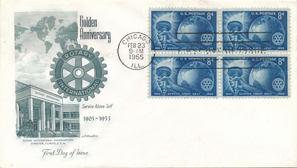 United States sc# 1066 FDC Block of 4 - Rotary International - ArtMaster Cachet