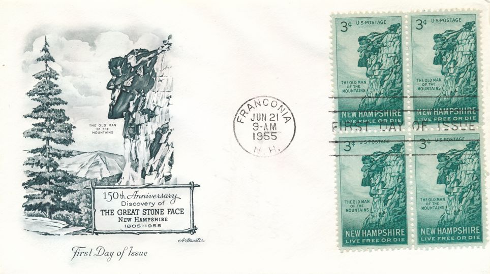 United States sc# 1068 FDC - Block of 4 - Great Stone Face - ArtMaster Cachet