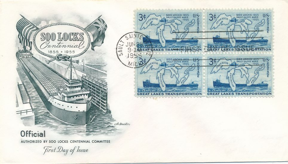 United States sc# 1069 FDC - Block of 4 - Soo Locks Centennial - ArtMaster Cachet