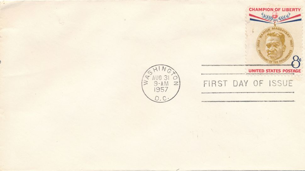 United States sc# 1096 FDC - Ramon Magsaysay Philippines