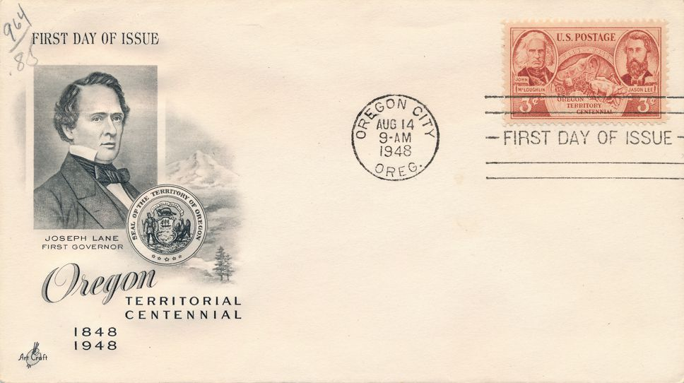United States sc# 964 FDC - Oregon Centennial - ArtCraft Cachet