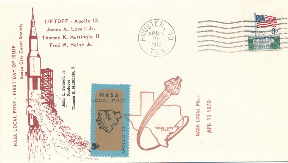 United States NASA Local Post #13 Apollo 13 Label - FDC April 11, 1970