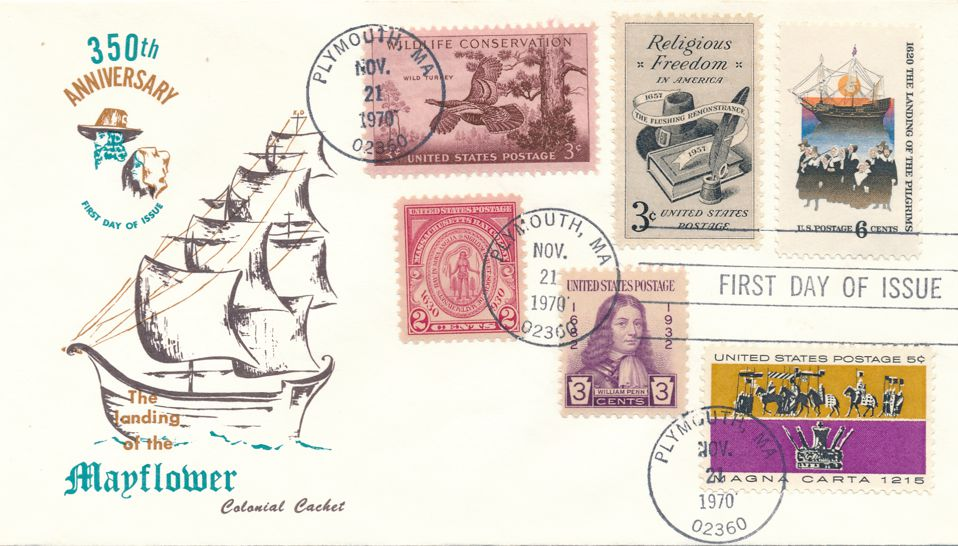 United States sc# 1420 FDC Mayflower Landing plus Related Stamps - Colonial