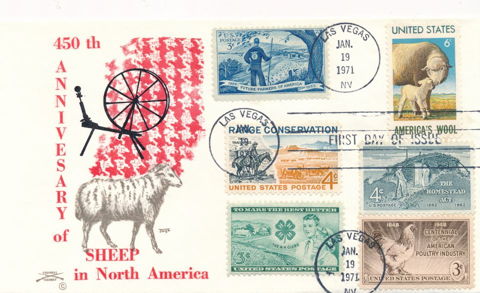 United States sc# 1423 FDC Sheep Wool Industry plus Related Stamps - Colonial