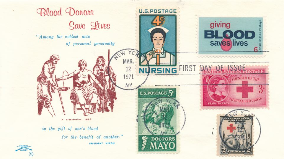 United States sc# 1425 FDC Blood Donors plus Related Stamps