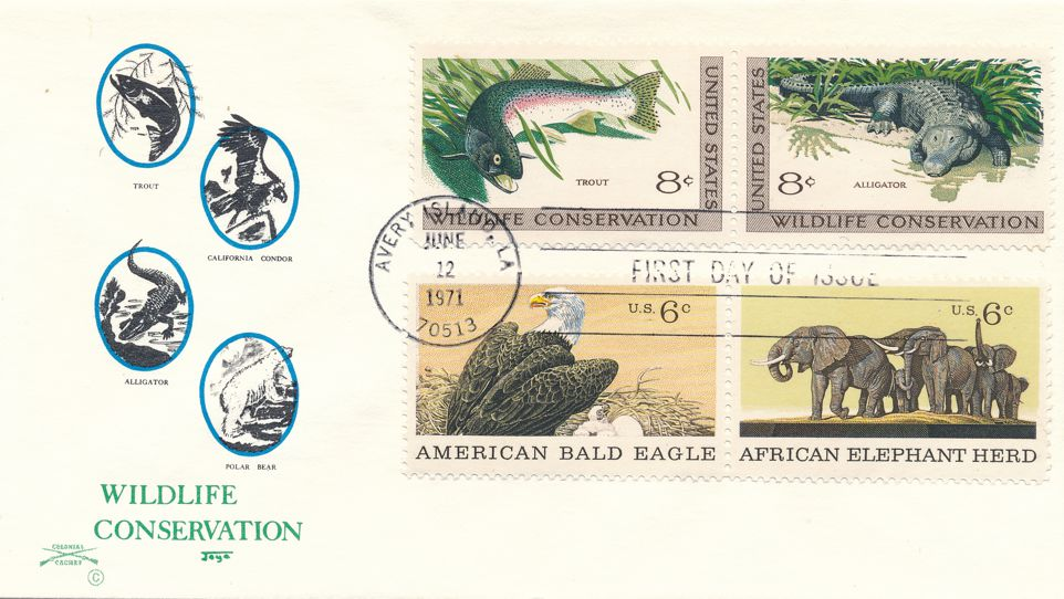 US sc# 1427-1428 FDC - Wildlife Conservation plus Related Stamps - Colonial Cachet