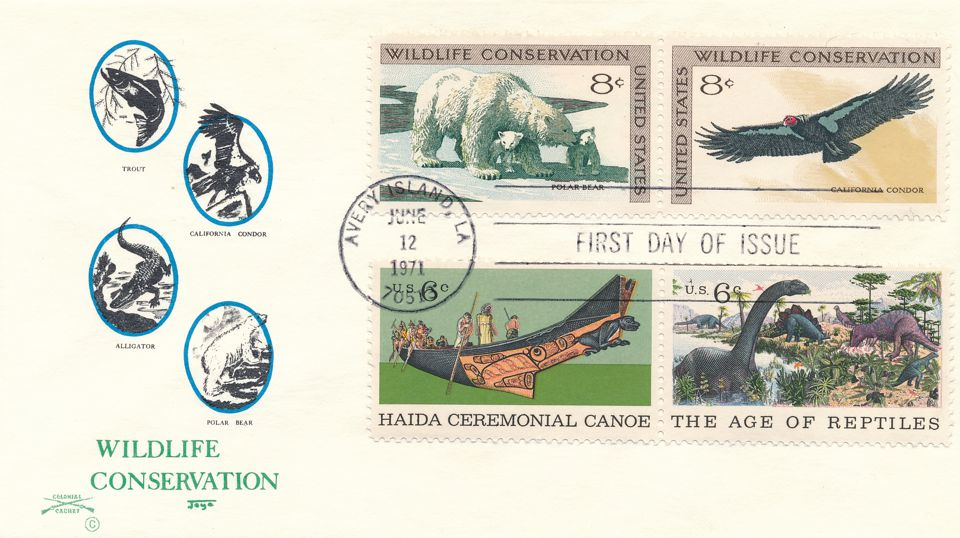 US sc# 1429-1430 FDC - Wildlife Conservation plus Related Stamps - Colonial Cachet