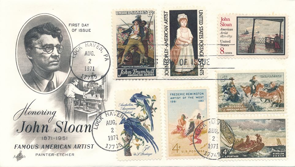 United States sc# 1433 FDC Artist John Sloan plus Related Stamps - Art Craft