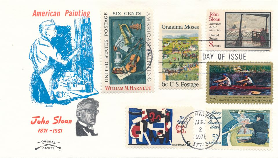 United States sc# 1433 FDC Artist John Sloan and Related Stamps - Colonial
