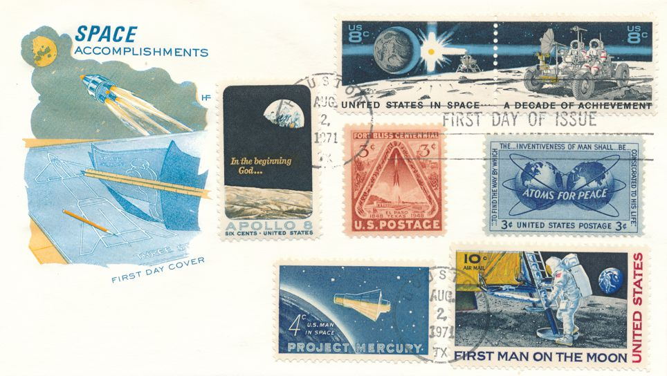United States sc# 1434-5 FDC Houston TX -  Space Achievements and Related Stamps