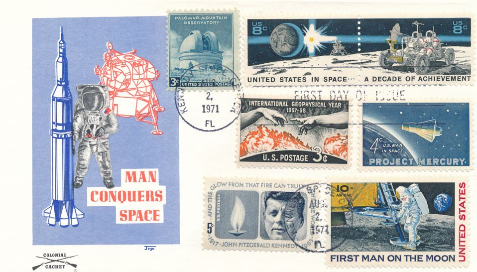 United States sc# 1434-5 FDC Kennedy Space Center FL - Space Achievements with Related Stamps