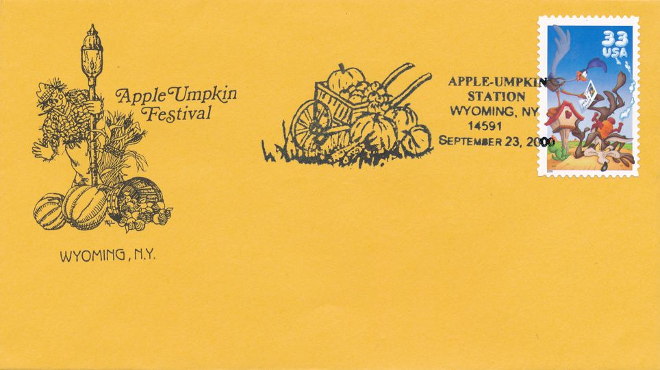 US Sc# 3391a on Cover - Special Cachet 2000 Apple Umpkin Festival, Wyoming NY