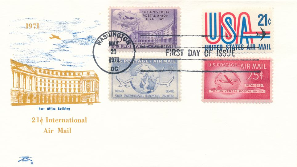United States sc# C75 FDC International Air Mail Rate plus Related Stamps