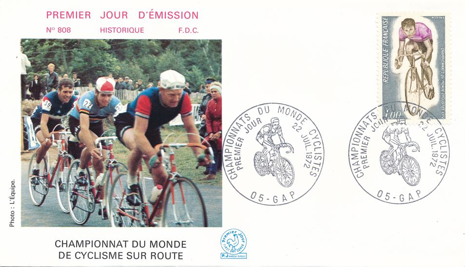France sc# 1350 - FDC - 1972 World Bicycling Road Championship