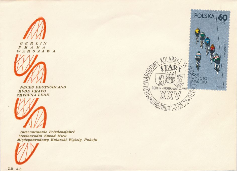 Poland sc# 1876 Event Cover - 1972 Berlin-Prague-Warsaw Bicycle Race