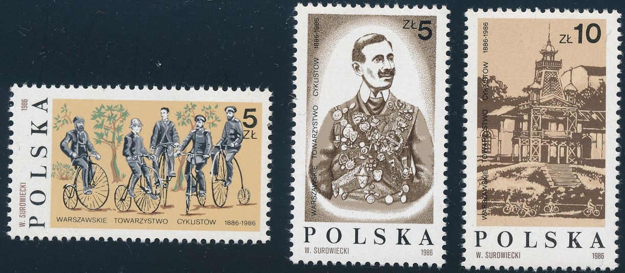 Poland sc# 2776-2781 - MNH Complete Set of 6 - Bicycles and Cyclists