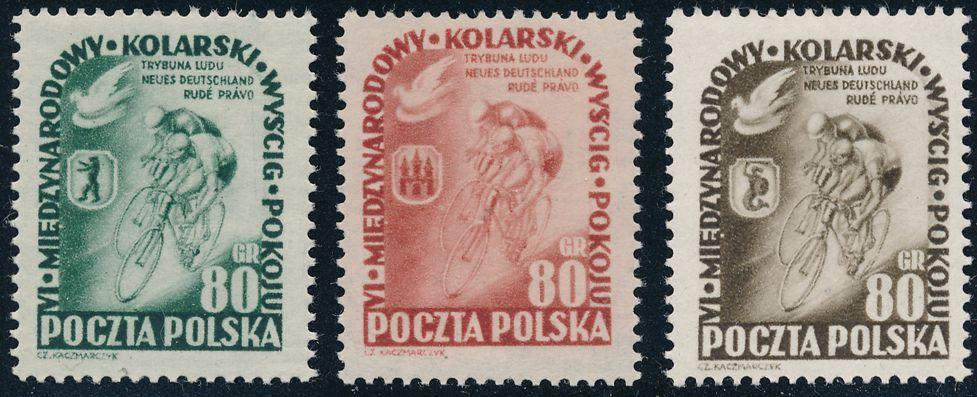 Poland sc# 570-572 - MNH VF - 1953 Annual Peace Bicycle Race