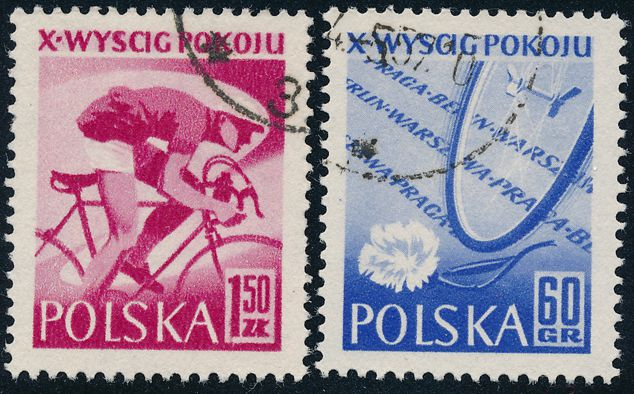 Poland sc# 777 - Used Set of 2 - 1957 Peace Bicycle Race