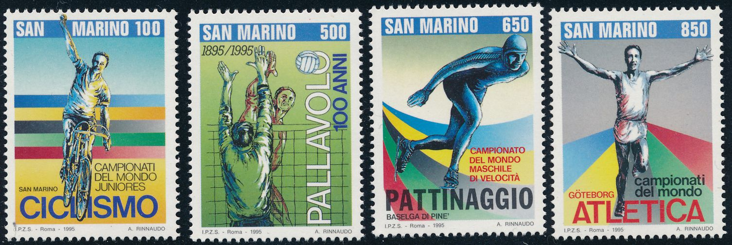 San Marino sc# 1319-1322 - MNH - Sports - Cycling Volleyball Track Speed Skating