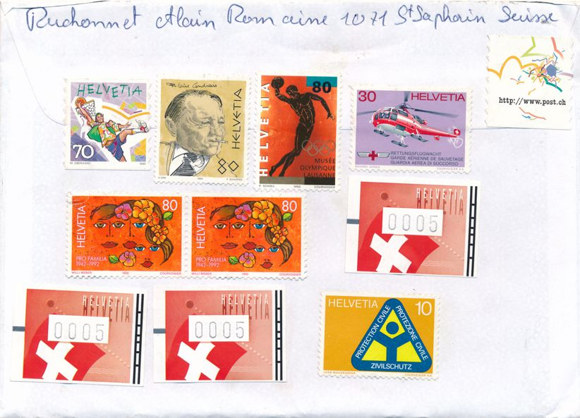 Switzerland Registered Cover February 26, 1907 - many stamps mostly from 1990's