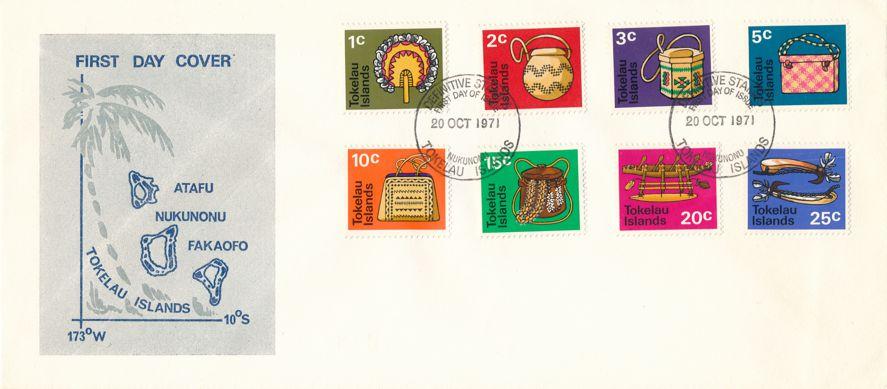 Tokelau sc# 25-32 FDC - Native Handicrafts - October 20, 1971